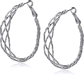 Guess Braided Silver Hoop Earrings