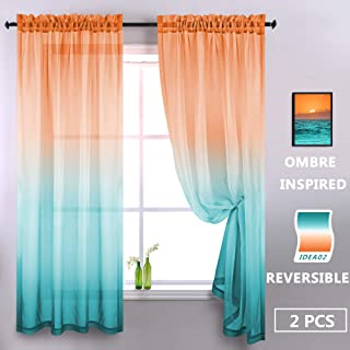 Green and Orange Kids Curtains for Girls Bedroom Baby Nursery Boys Play Living Room Ombre Curtains Bright Color Rainbow Sunset Colorful Themed Patterned Window Semi Sheer Curtain 52 x 63 Inch 2 Panels