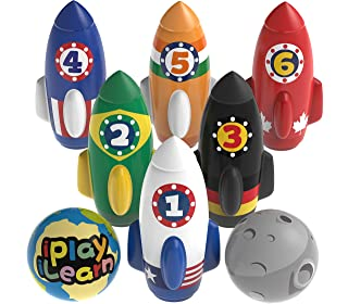 iPlay, iLearn Kids Rocket Bowling Set, Soft Indoor Play Game, Toddler Active Sports Toys, 6 Foam Pins 2 Planet Balls, Learning Development Party Favor Gifts for 3 4 5 Year Olds, Boys Girls Baby Child