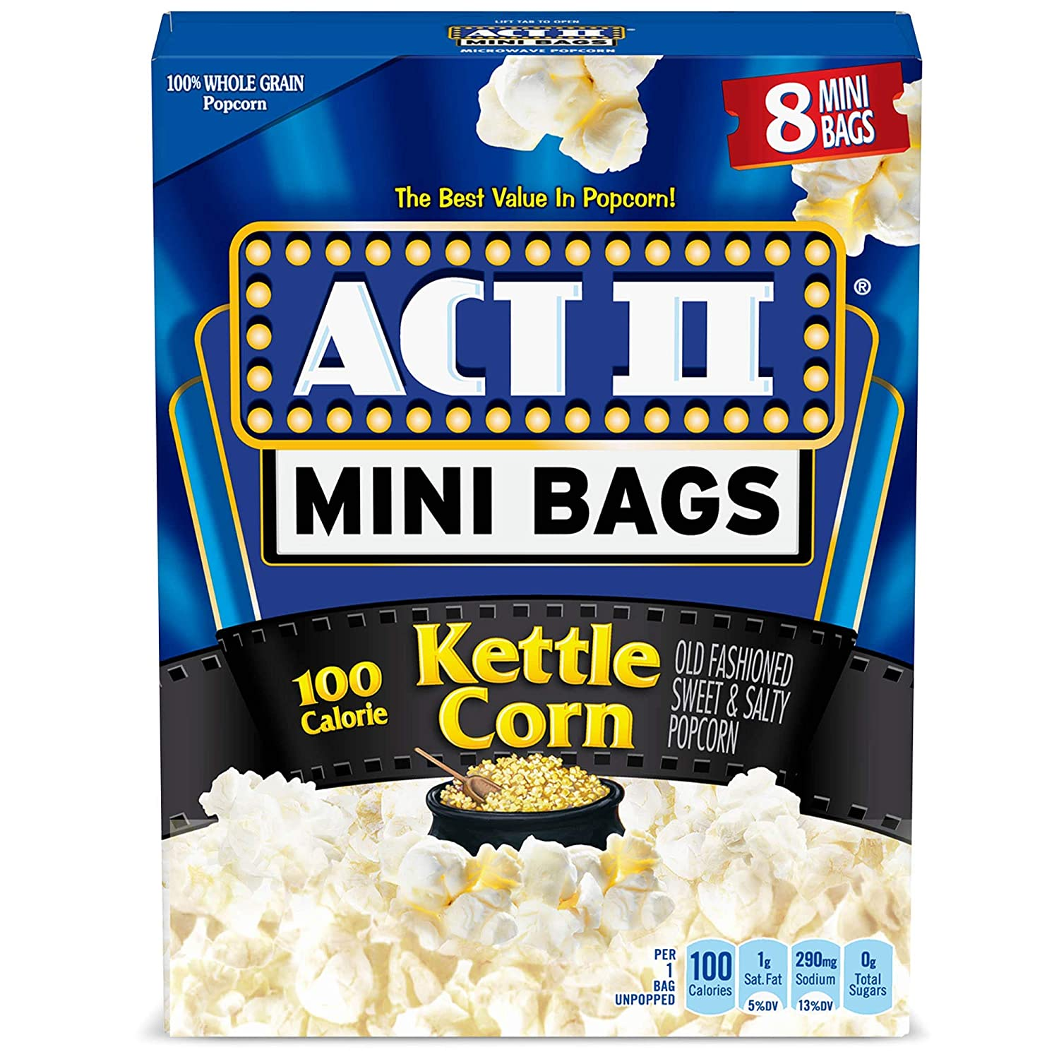 Ranking TOP1 Max 58% OFF ACT II 100 Calorie Kettle Corn Popcorn 8-Co Microwave Bags Mini