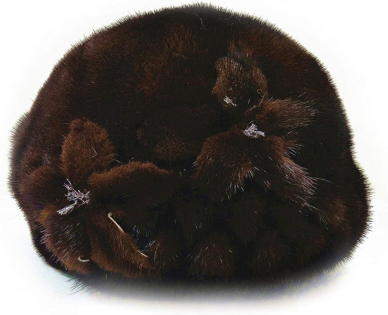 HIMA 100% Mink Full Skin Fur Hat With Flower adjusted up to 23''perimeter-Black