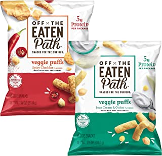 Off the Eaten Path Veggie Puffs Variety Pack, Sour Cream & Onion and Spicy Queso, 16 Count