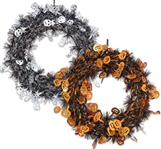 Created By S.H.A.C. Halloween Wreaths for Front Door or Walls with Skulls and Pumpkins 1 Black and 1 Orange 11 Inch Tinsel