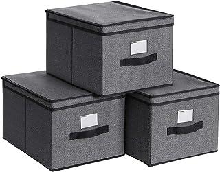 SONGMICS Lot de 3 Boîtes de Rangement, Coffre, Panier, Organisateur de Jouets, Pliable, avec couvercles et Porte-étiquette...