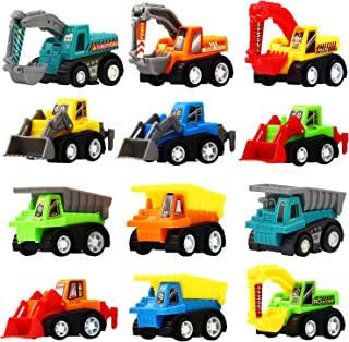 Pull Back Car, 12 Pcs Mini Truck Toy Kit Set, Play Construction Engineering Vehicle Educational Preschool for Children Boy...