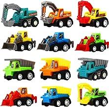 Funcorn Toys Pull Back Car, 12 Pcs Mini Truck Toy Kit Set, Play Construction Engineering..