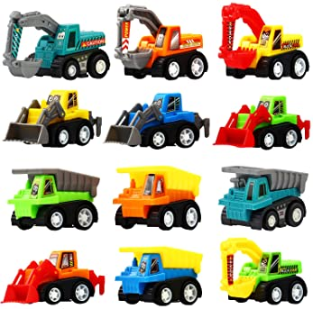 Pull Back Car, 12 Pcs Mini Truck Toy Kit Set, Play Construction Engineering Vehicle Educational Preschool for Childre...