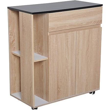 Chariot de service desserte de cuisine à roulettes multi-rangements placard double portes + 2 étagères + tiroir panneaux particules chêne noir