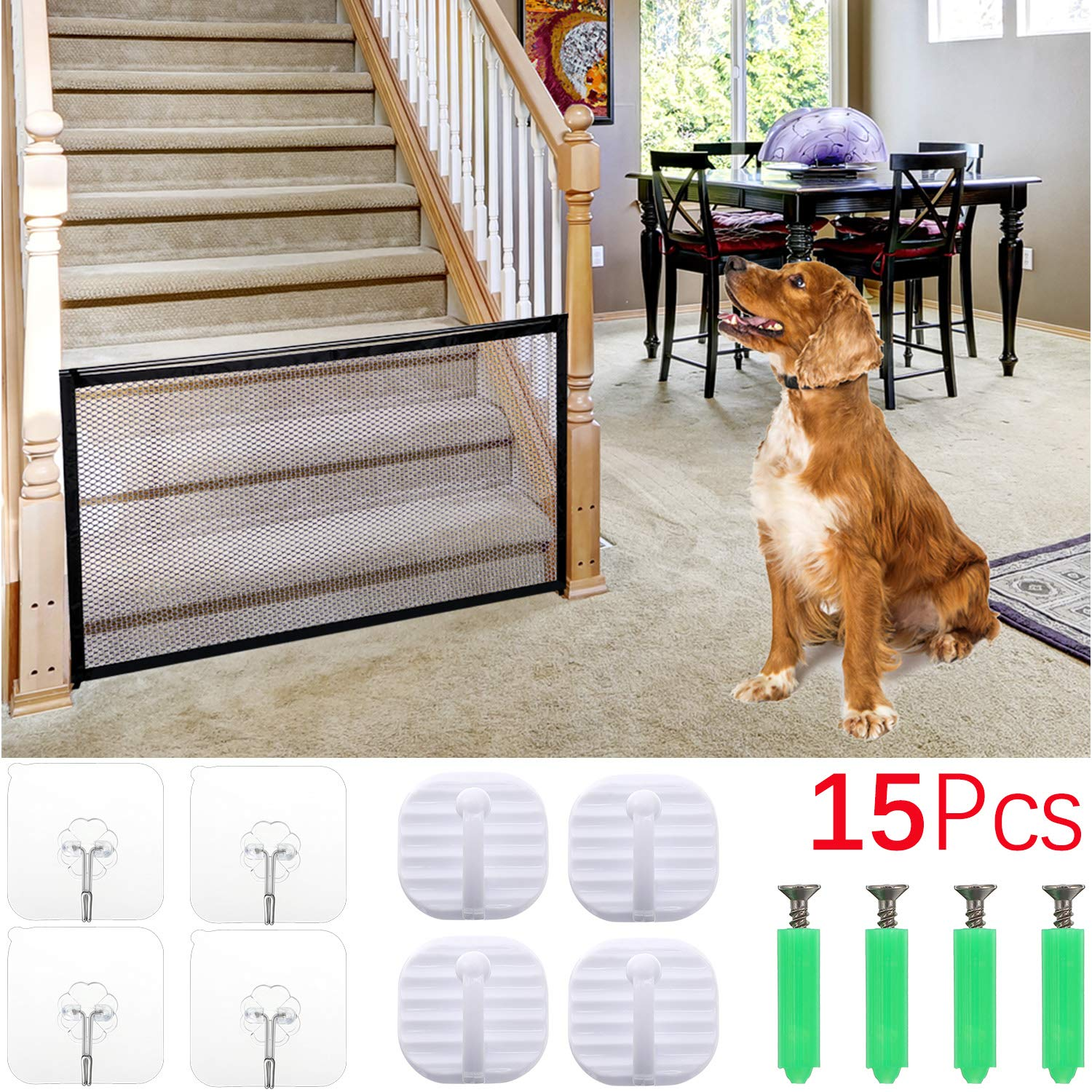 Safe Rail Net for Kids//Pet//Toy Balcony Brown Sturdy Mesh Fabric Material Patios and Railing Stairs Netting 9.8 ft White Color Aitone Child Safety Net