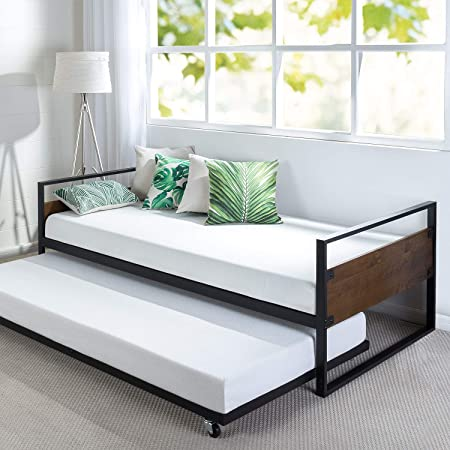 Amazon Com Zinus Suzanne Twin Daybed And Trundle Frame Set Olb Irdbs 39 Brown 2 Furniture Decor