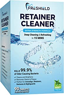FRESHIELD Retainer & Denture Cleaner Tablets - Remove Stain, Plaque, Bad Odor from Dentures, Retainers, Invisalign, Mouth Guards, Braces, Teeth Straighteners, Night Guards, Removable Dental Appliances