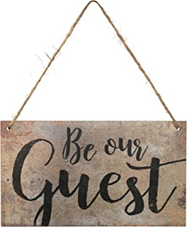 P. Graham Dunn Be Our Guest Script Wood 6 x 3.5 Printed Overlay Mini Wall Hanging Plaque Sign