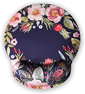 Ergonomic Mouse Pad with Wrist Support,Dooke Cute Wrist Pad with Non-Slip Rubber Base for Computer, Laptop, Home Office Gaming, Working, Easy Typing & Pain Relief Flower