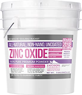 Zinc Oxide Powder (5 gallon (30 lbs.)) by Earthborn Elements, Resealable Bucket, Non-Nano, Uncoated, Food & USP Grade, All-Natural, Baby Safe, For Cosmetics, Diaper Cream, Sunscreen, More