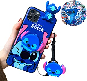 GOOBE iPhone case,Cute Cartoon 3D Character Silicone Cover Case for Apple iPhone with Lanyard, Cell Phone Stand, and 50Pcs Waterproof Vinyl Stickers (Stitch, for iPhone7/8)