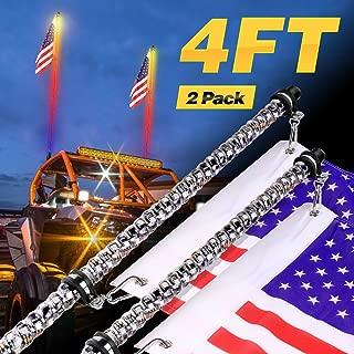 LED Whip Lights, Teochew-LED 2Pack 4 Feet Lighted Whips RGB Chasing Antenna Light Spiral Whip Lights for ATV UTV SXS RZR 4X4 Polaris Truck