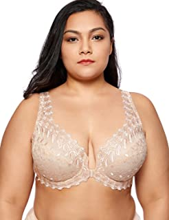 Delimira Women's Plus Size Non-Padded Embroidered Front Hook Underwired Bra
