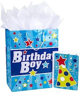 """هالمارک 13 """"کیف بزرگ هدیه با کارت تولد و کاغذ بافت (آبی با ستاره ، پسر تولد)"""