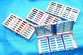 New 4 German Stainless Steel Dental Autoclave Sterilization Cassette Rack Box Tray for 7 Instruments Set of 4 Color