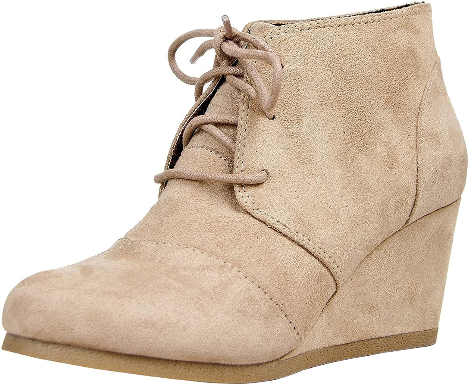 Soda Women's Rex Lace-Up Oxford Ankle Booties