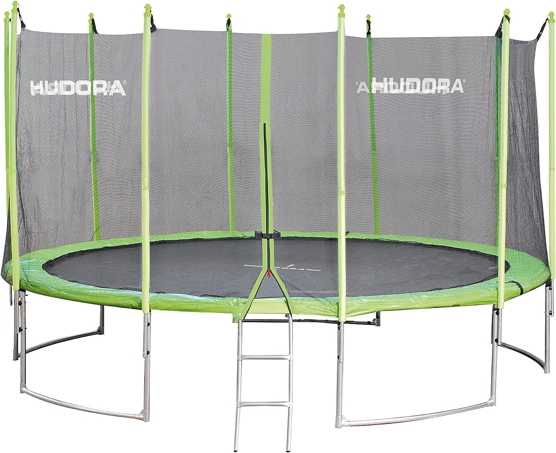 HUDORA Family Trampolin 300-400 cm, grün schwarz - Garten-Trampolin mit Sicherheitsnetz und Randabdeckung sowie Leiter (nur bei 400 cm) - Einkarton-Variante