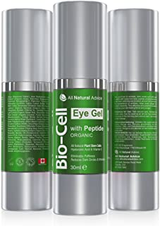 All Natural Advice Bio Cell Eye Gel with Peptide, Hyaluronic Acid and Vitamin E, Reduce Dark Circles and Wrinkles, Anti Aging Organic Skin Care (30 ml)