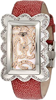 SK47802L Limited Edition Swiss Pink Diamond Watch With Mother-Of-Pearl Dial, Genuine Stingray