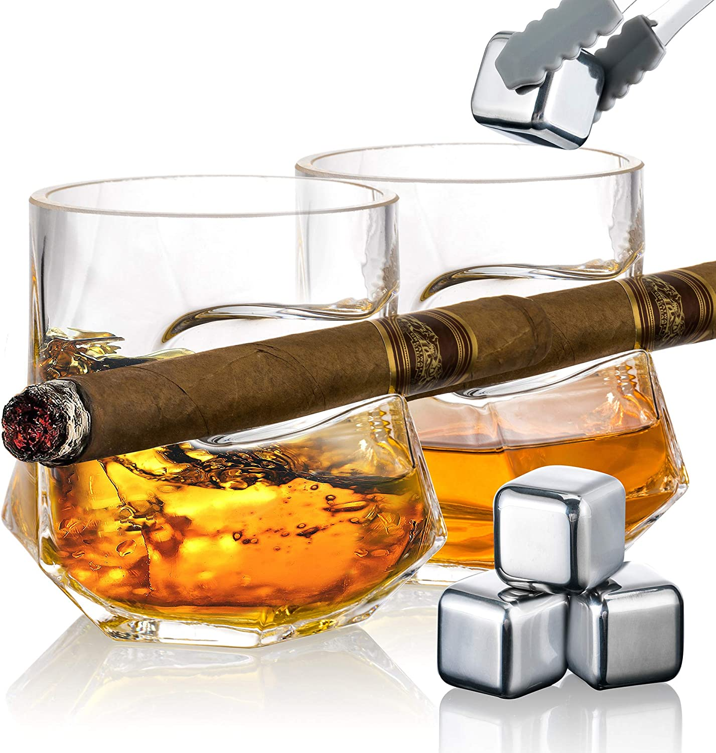 YouYah Cigar Tucson Mall Whiskey Glasses with of 2 Holder-Set Ac New popularity