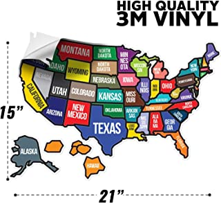 WANDER CAMP State Text - RV state sticker travel map 21 x 15 inches for Motorhome Accessories Exterior Vehicle Vinyl State Stickers Decal for Laptops - Refrigerators - Wall - UV Protection Guards Agai