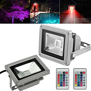 AUTOUTLET 2PCS Waterproof 10W RGB Color Changing LED Flood Light Outdoor Garden Pond Lamp for Home/Hotel/Marketplace/Garde...