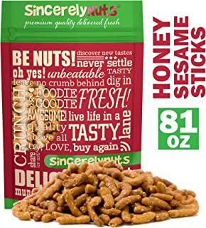 Sincerely Nuts Honey Roasted Sesame Sticks - (5 LB) The Perfect Vegan Treat-Sweet and Crunchy Flavor-Beet and Turmeric Power Snack - Outstanding Flavor - Kosher