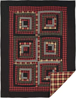 VHC Brands Rustic & Lodge Bedding-Cumberland Quilt, Twin, Chili Pepper Red
