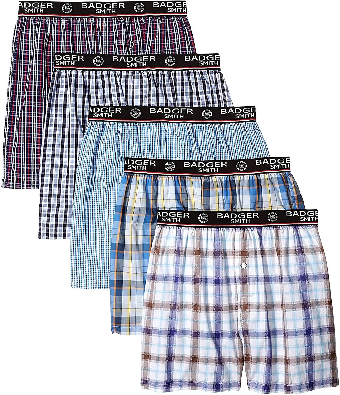 Badger Smith Men's OFFicial site 5 - Pack Mult 100% Surprise price and 3 Checks Cotton