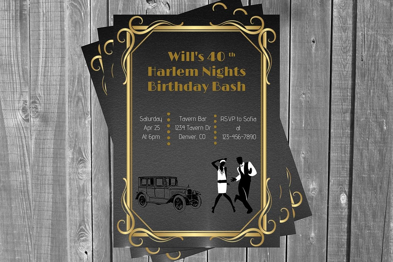 Max 76% OFF Harlem Nights Birthday Party 20 5 ☆ popular Roaring Invitation