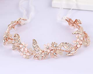 Ammei Rose Gold Wedding Headband Flower Leaves Design Hair Vine Bridal Headpiece Wedding Hair Accessories