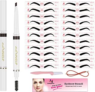 Eyebrow Pencil & Eyebrow Stencil, 30 Eyebrow Shaper Kit, Reusable Eyebrow Template With Strap & Eyebrow Razor, Waterproof Eyebrow Pen, 3 Minutes Makeup, Suitable for 98%