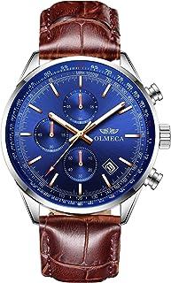 ساعة كوارتز رياضية للرجال مقاومة للماء كرونوغراف بتقويم التاريخ ساعات معصم وسوار جلد طبيعي لون أزرق