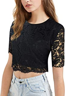 modase Women's Short Sleeve Sexy Semi Sheer Blouse See Through Floral Lace Top