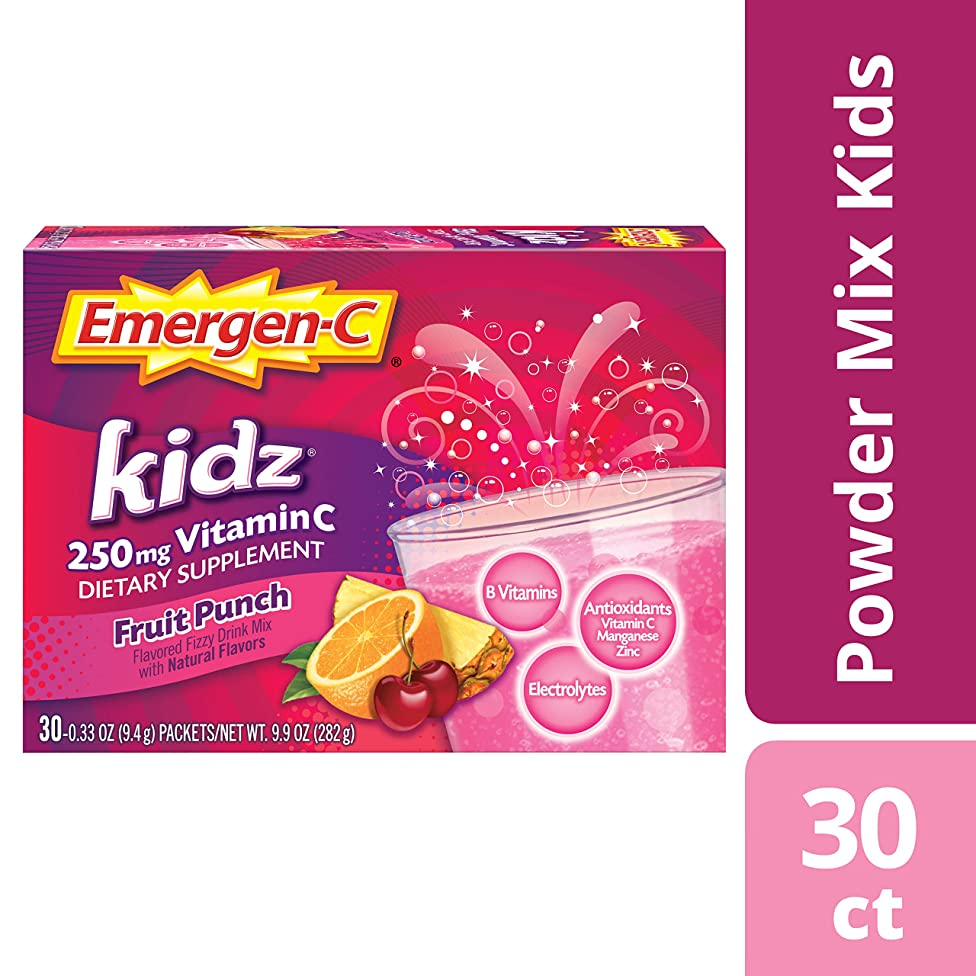 Emergen-C Kidz Dietary Supplement Drink Mix With 250mg Vitamin C, 0.33 oz Packets, Caffeine Free (Fruit Punch Flavor, 30Count)