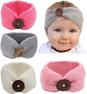 Baby Turban Head Wrap Headbands Girl Knitting Button Hairbands