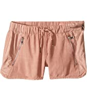 Blank NYC Kids - Drawstring Linen Shorts w/ Zipper Detail in Fading Rose (Big Kids)