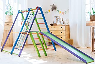 EZPlay Indoor Jungle Gym – Sturdy Toddler Playset, Foldable Kids Play Area with Monkey Bars, Climbing Ladder, Toddler Slide, Swing Set & Rings, Play Structure for Kids Aged 18months+