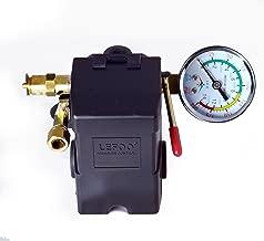 26 AMP H/D PRESSURE SWITCH AIR COMPRESSOR 145-175 4 PORT w/ 0-200 psi Gauge & 200 psi Pop off valve