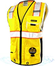 KwikSafety (Charlotte, NC) CLASSIC (10 Pockets) Class 2 ANSI High Visibility Reflective Safety Vest Heavy Duty Mesh with Zipper and HiVis for OSHA Construction Work HiViz Men Yellow Black XL