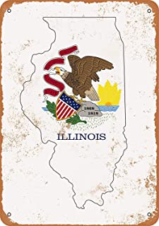 Illinois State Flag Design Vintage Look Metal Signs Home Decor Garage Wall Art 8 x 12 Aluminum Tin Sign Gift