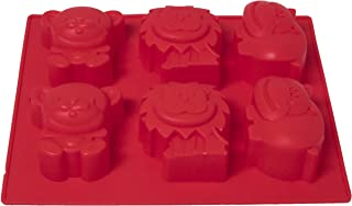 Non-stick Candy Jelly Molds, Chocolate Molds, Soap Molds, Silicone Baking Molds 6 Cavity Mold (Red, Animal Theme)