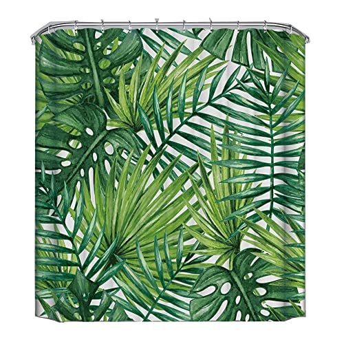 Famibay Mould Proof Fabric Shower Curtain for Bath Waterproof Bathroom Curtain with Hooks (3D-Rainforest)