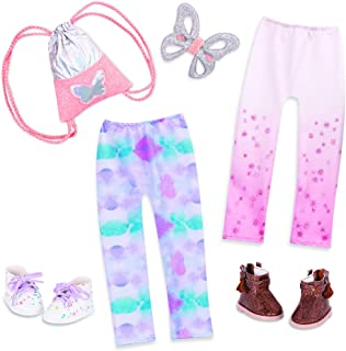Glitter Girls Dolls by Battat – 14-inch Doll Clothes and Accessories – 2 Leggings, 2 Shoes, Butterfly Hair Clip, and Knaps...