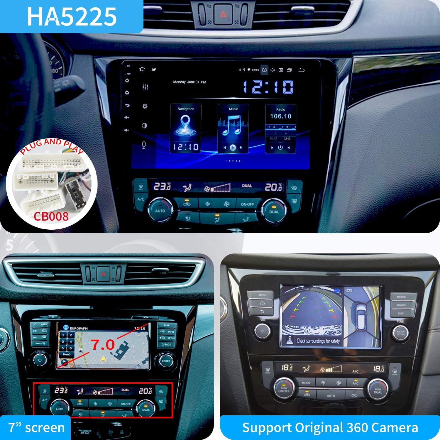 Dasaita 10.2 Android 9.0 Car Stereo Radio for Nissan X-Trail Qashqai Rouge 2014 2015 2016 2017 GPS Navigation Octa Core 4GB and 32GB Head Unit