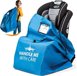 Car Seat Travel Bag for Airplane Baby Carseat Gate Check Bag | Universal Size - Infant Car Seat Bags for Air Travel Waterproof - 600D Nylon Fabric W/Adjustable Strap (Blue)